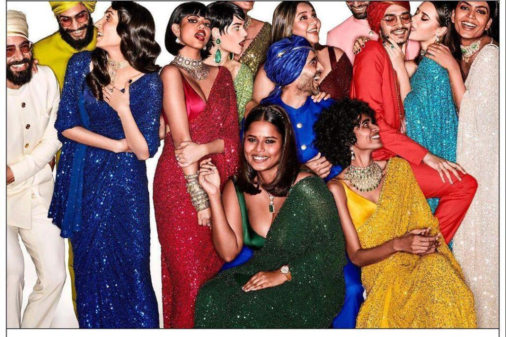 ma panache sequin work girlish party wear saree for women bollywood vogue dresses